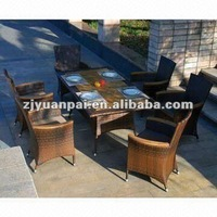 Luxury rattan dining set with wood on table and chair