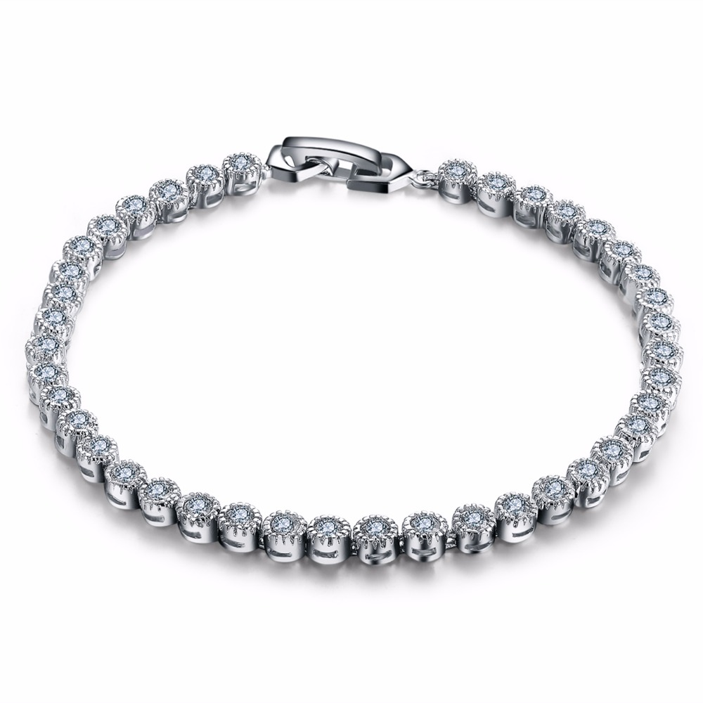 MDEAN MSB003 Women bracelet white gold plated chain Beads Bracelets & Bangles Overlay chain Dense fashion jewelry <strong>Accessories</strong>