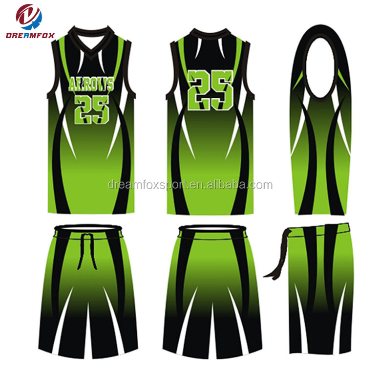 Team Breathable Sublimation Custom Green Basketball Uniforms Design ... 18b9e2e7b