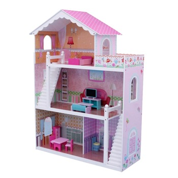 Dh601 86x32 5x(h)110cm Triple Storeys Dream House With Imitated Doll  Furnitures Inside,Interesting Wooden Doll House - Buy Dream House,Wooden  Doll