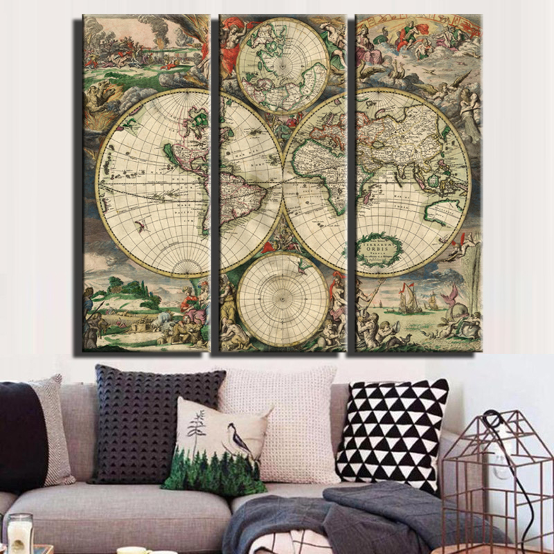 Aliexpress Com Buy Unframed 3 Panel Vintage World Map: Online Kopen Wholesale Antieke Wandpanelen Uit China