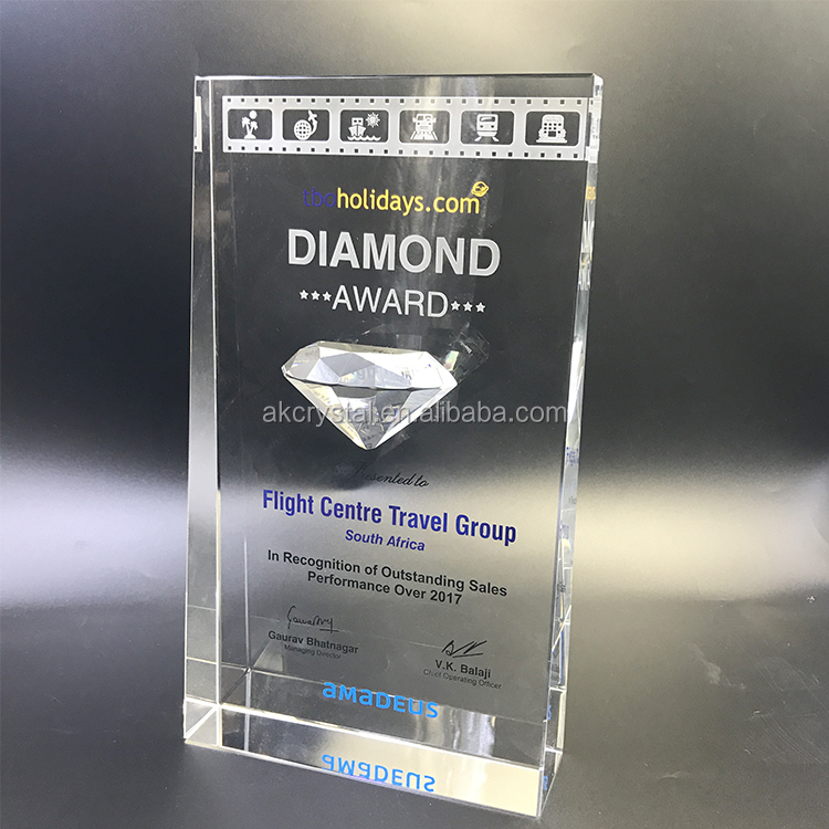 Hot sale top quality business award red K9 crystal trophy plaque from China manufacturer