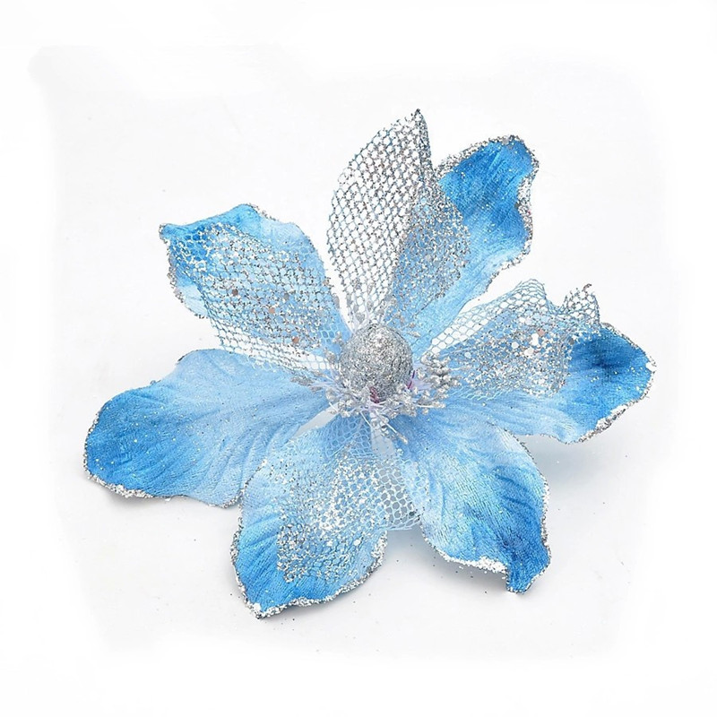 Hot - Christmas tree accessories blue 20cm bronzier decoration christmas flower 10g/pcs