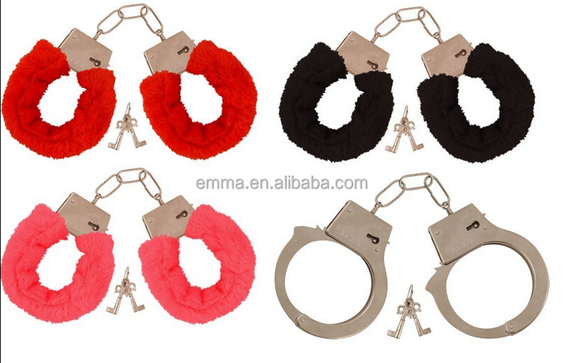 Metal/Red/Black/Pink Fluffy Furry Handcuffs sex Fancy Dress Sexy Role Play Night Toy HK17190