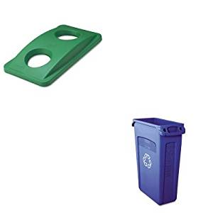 KITRCP269288GNRCP354007BE - Value Kit - Rubbermaid Slim Jim Recycling Container with Venting Channels (RCP354007BE) and Rubbermaid Green Bottle amp; Can Recycling Top For Slim Jim Waste Containers (RCP269288GN)