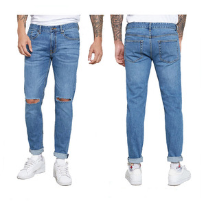 New Style cotton slim custom ripped mens denim jeans