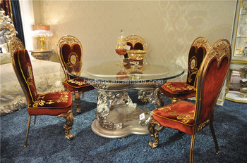 Italian Reproduction Gl Top Round Dining Table Set Luxury Carving Leave Stand Silver