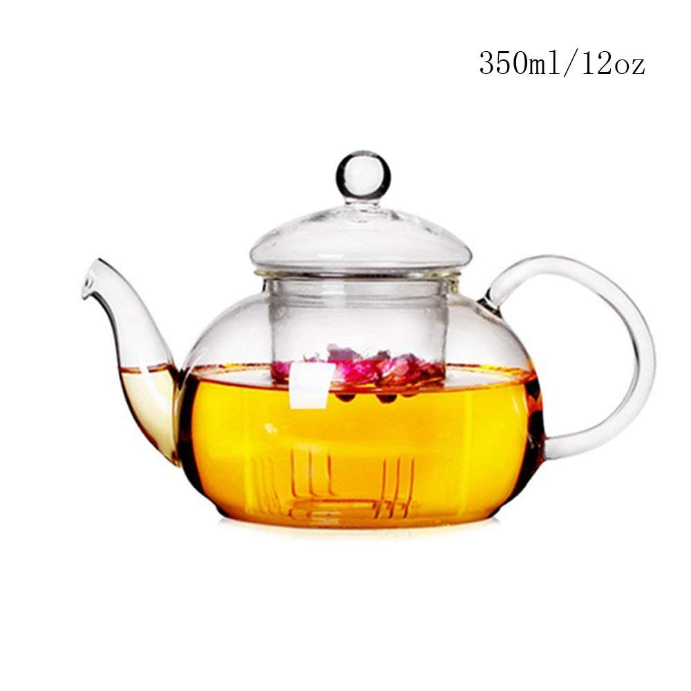Clear Glass Teapot Kettle With Infuser For Loose Tea Glass Tea Pots Heat Resistant Glass Tea Pot Strainer 12Oz Borosilicate Glassteapot
