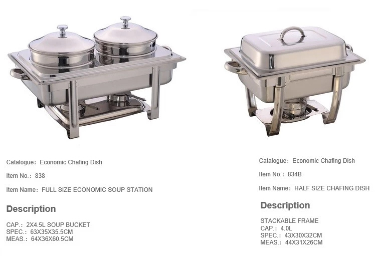 Hotel Restaurant Stainless Steel Buffet Food Warmer Economic Chafing Dish