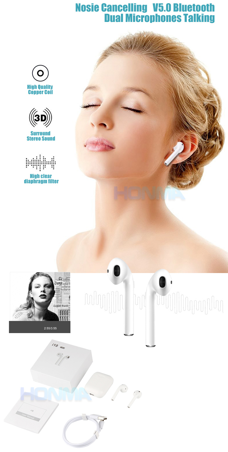 Wireless Touch Screen Headphone I10,Tws Touch Earbuds I10,Touch Control  Bluetooths Earphone I10 - Buy Touch Earphone,Touch Control Earphone,Touch