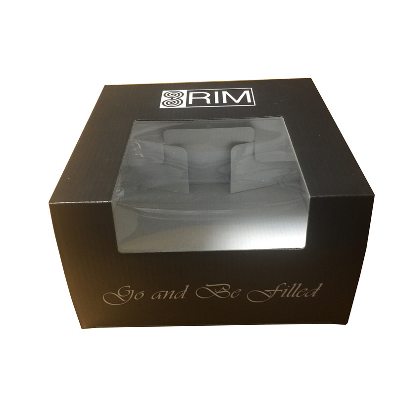 cheap custom printed clear window cardboard hat box
