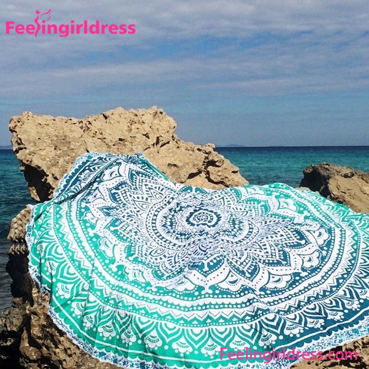 Fast delivery floral printed beach towel round with pillow