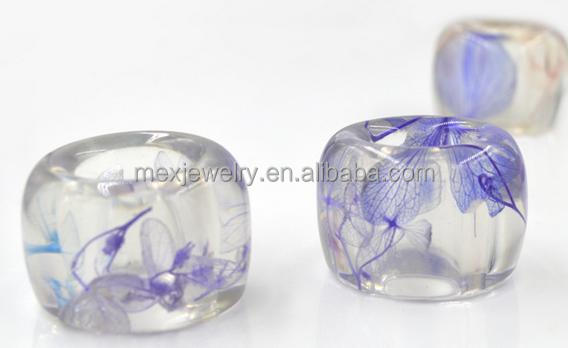 Crystal transparent resin band natural Purple dried flowers plant jewelry ring designs mix colors for choose