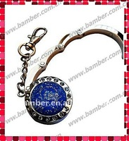 Key Chain Folding Handbag Hook/Purse Hanger with Rhinestones