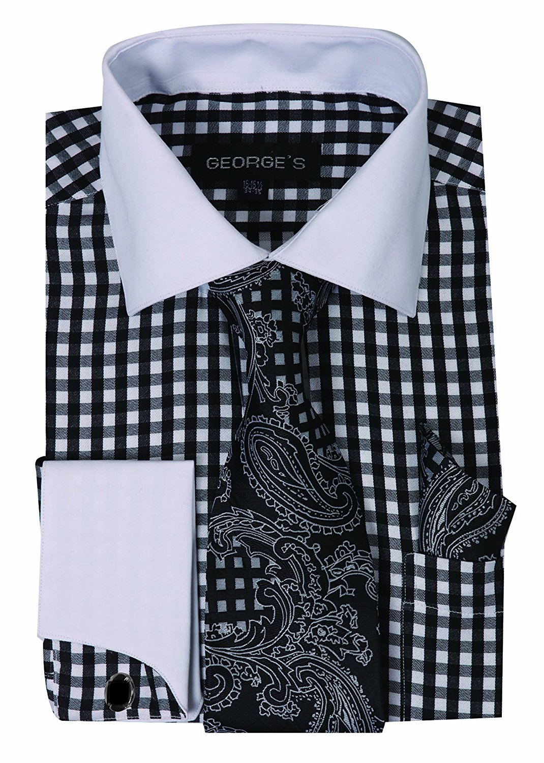 6b9e8104b60d George's Small Check Fashion Shirt With Matching Tie, Hankie and French  Cuffs AH615
