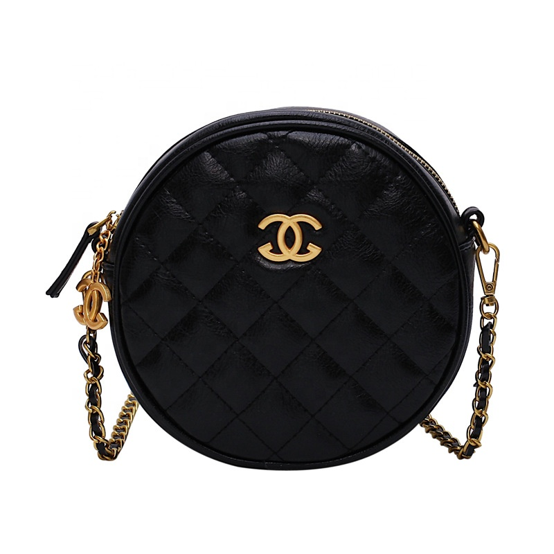 High quality fashion black <strong>women</strong> small hand bag quilted leather ladies round clutch crossbody bags