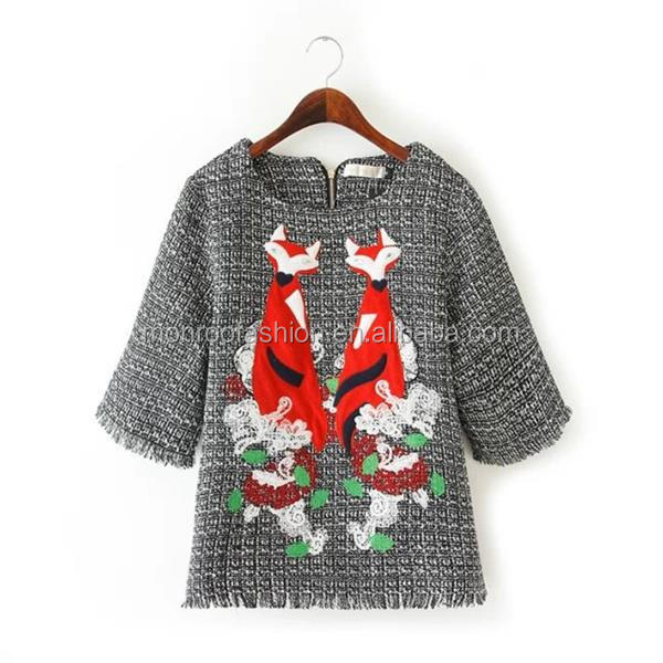 monroo new spring tops fancy fox embroidery woolen clothes designs for ladies