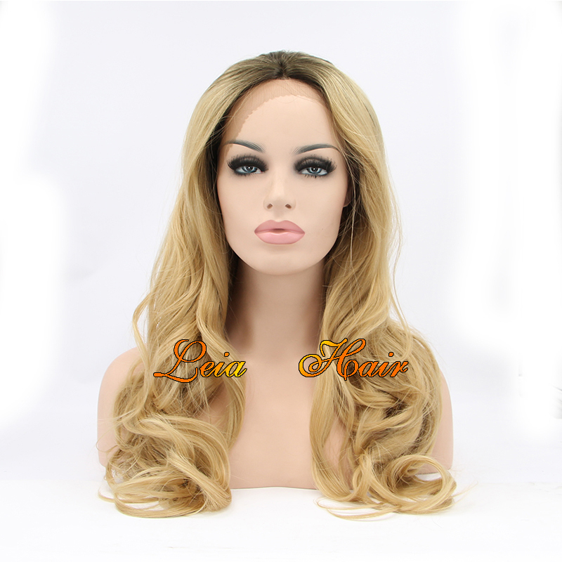 Blonde Wig Wavy Synthetic Lace Front Wig Heat Resistant Cheap Kanekalon Hair  Dark Roots Glueless Ombre Blonde Wigs For Women