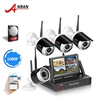 Anran 1080P HD H.264/265 outdoor Waterproof 2mp IP Camera wifi Security CCTV System 4CH Wireless NVR Kit with 2T HDD