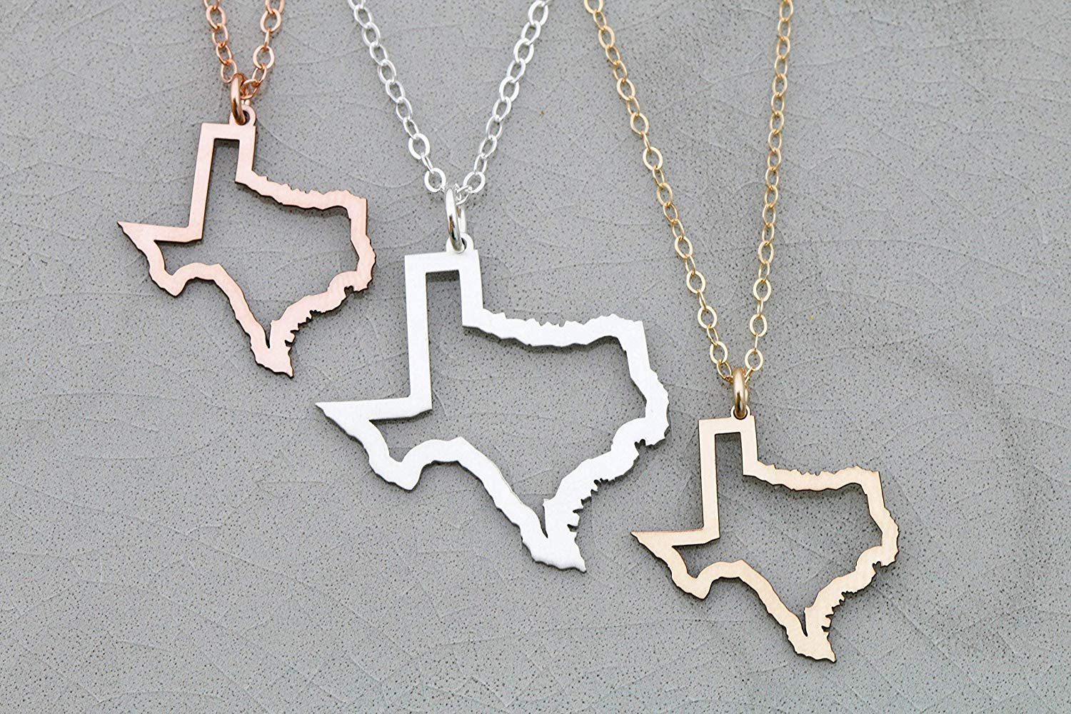 Texas State Outline Necklace - IBD - Lone Star Territory Pendant - Chain Length Options -Customize Charm Size - Ships in 1 Business Day - 935 Sterling Silver 14K Rose Gold Filled Charm
