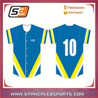 Stan Caleb wholesale fashion button down sublimated custom baseball jersey/baseball shirt