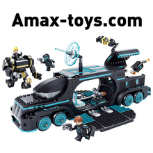 1486606-560Pcs Future Police City War X-Agents Armor Chariot Car Model Mech Robot Building Blocks educational Toys