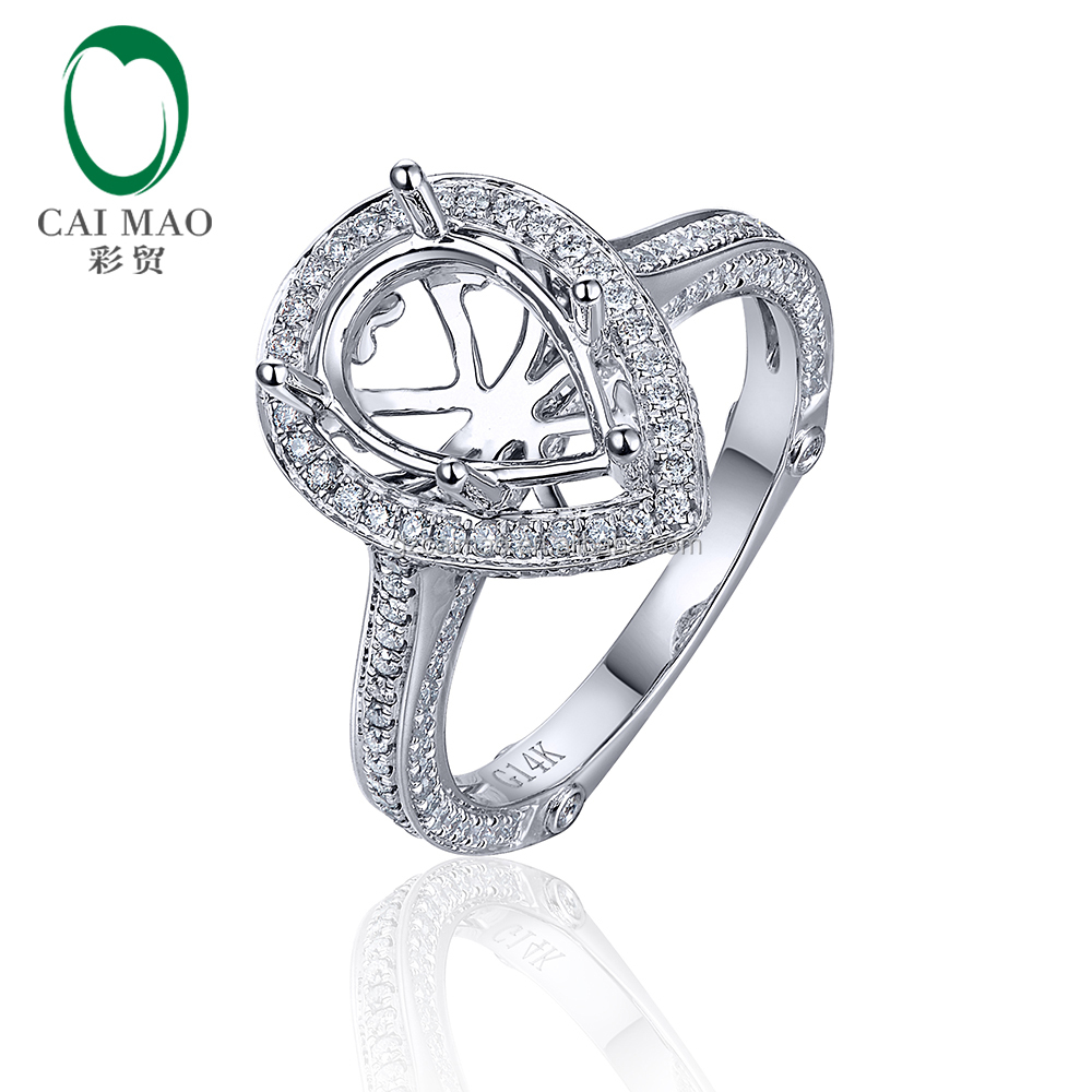 Free Shipping 1.79ct SI1 Diamond Engagement 14K White Gold Semi Mount 7x9mm Pear Cut Ring Setting
