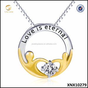 LOVE is Eternal Jewelry Pure Sterling Silver Love Necklace Two Tone Necklace Jewelries