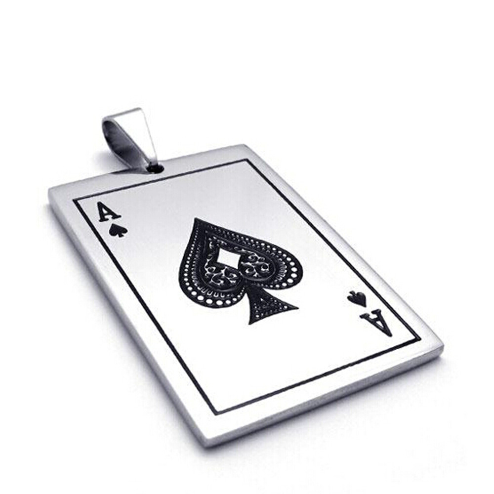 2017 New Fashion Jewelry for Mens Playing Cards Spades A Pendant 316L Stainless Steel Men's Necklace 55cm Chain