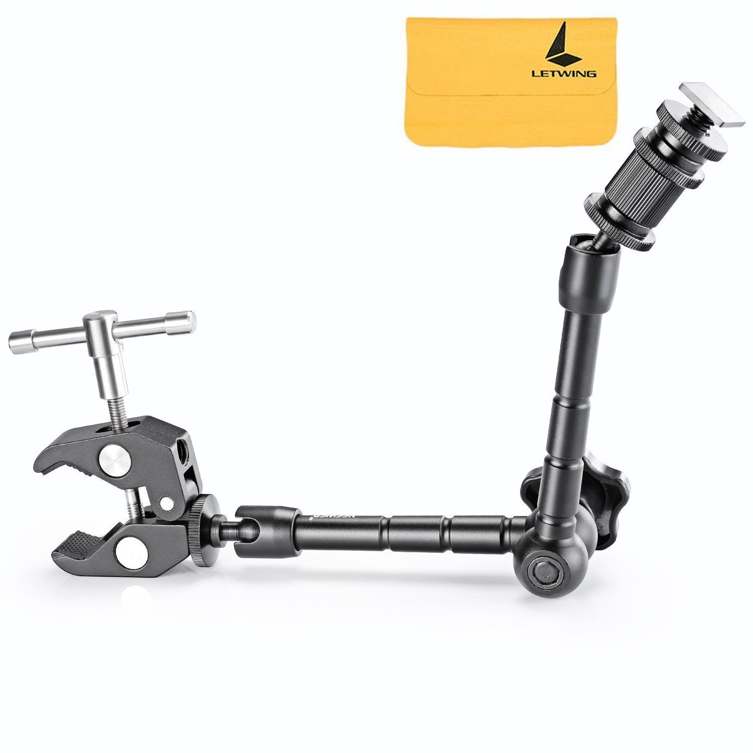 """LETWING 11""""/28cm Adjustable Friction Power Articulating Magic Arm and Large Super Clamp Crab Pliers Clip for DSLR Camera Rig,LCD Monitor,DV Monitor,LED Lights and Flash Light"""
