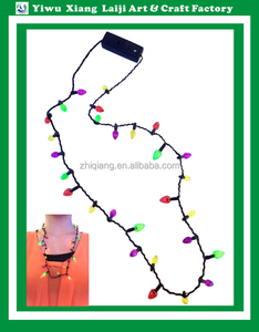 Christmas classic light up 6 led lights bulb flashing necklace