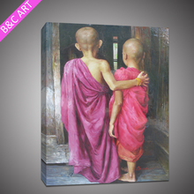 impressionist figure oil painting thailand buddhist monks portrait painting on canvas