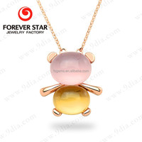 New Gold Neck Chain Designs in Rose Quartz and Citrine Gold Necklace