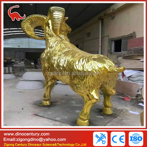 Golden effect finish goat theme park animal statues for sale