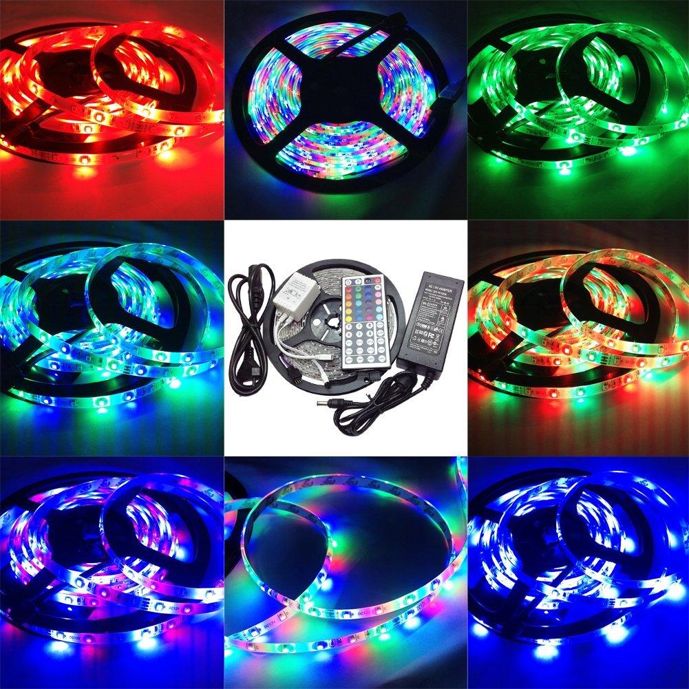 SZMINILED 3528 RGB LED Strip Light 12v 60leds/m Waterproof Ip65 16.4ft/5m LED Flexible Light Strip + Dc12v 36w LED Power Adapter(us Plug) + 44key LED Controller Led Strip Light,led Strip 5m Strip Light,led Strip 3528