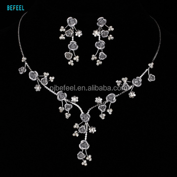 Bridal Necklace Earrings Bracelet Set Fake Shire Wedding Jewelry Sets