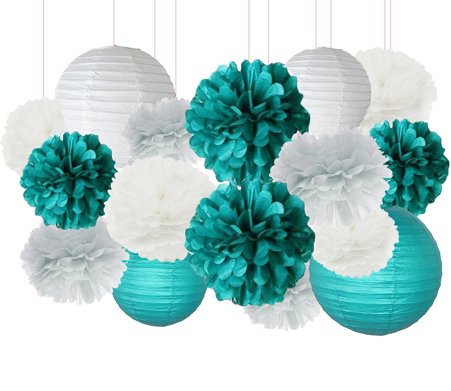 get quotations teal bridal shower decorations white teal grey 10inch 8inch tissue paper pom pom paper lanterns teal