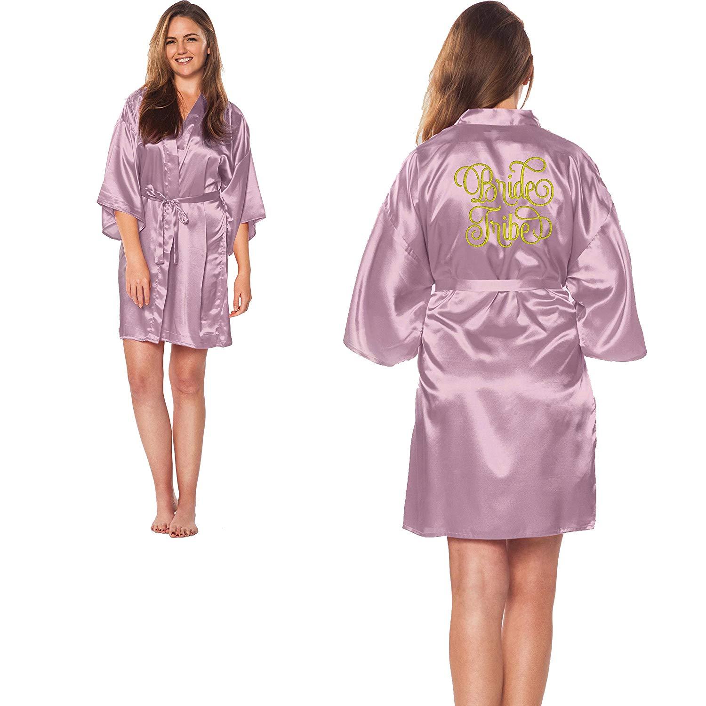 Custom Apparel R Us Bride Tribe Gold Embroidered Wedding Bathrobe Satin Robes Bridal