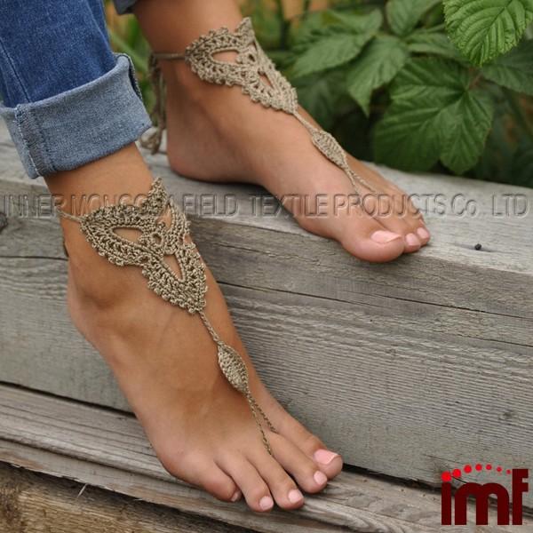 Häkeln Tan Barfuß Sandalen Nude Schuhe Fußschmuck Damen Sandalen