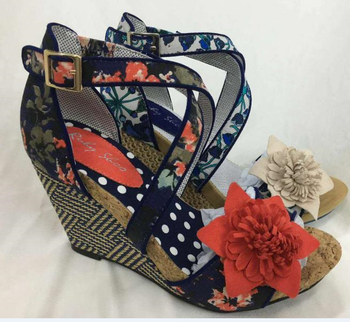 fashion ladies shoes with high heel and nice flower ornament