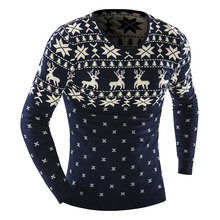 2015 Autumn Winter Pullover Men Christmas  Sweater Jumper V Neck Deer Pattern Slim Fit Knitted Christmas Sweaters Knitwear