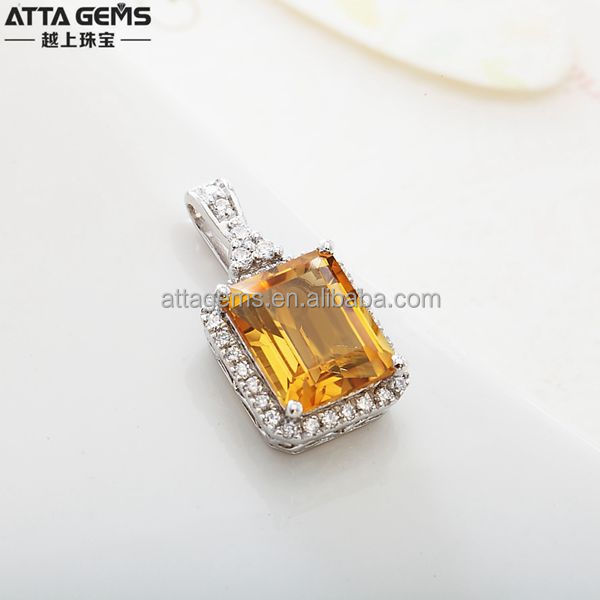 silver jewelry with lab created citrine pendant used for gift or anniverary