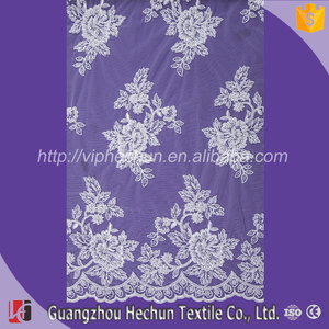 HC-1475 Hechun Wedding Dresses Decoration Material Sew Sequins Beaded Guangzhou Cord Lace Fabric