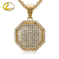 Factory Outlet European and American style square octagonal set diamond gold plated pendant