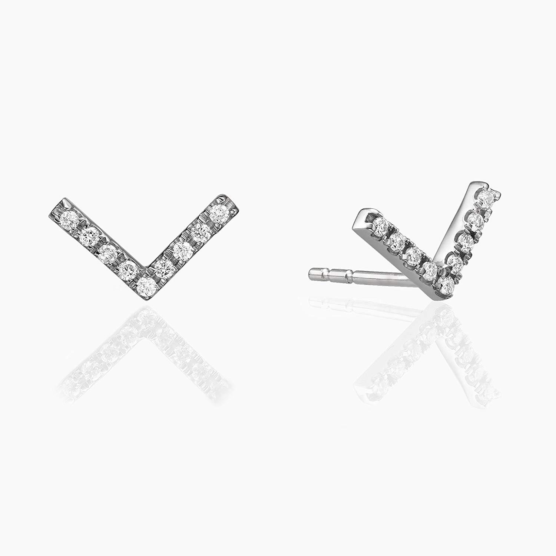 V-Shaped Studs,V Diamond Earrings, 14K Solid white Gold Earrings, Stud Earrings, V Earrings, Diamond, Affordable Diamond Earrings, Gift For Her