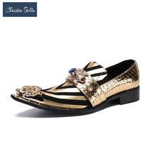 Christia Bella/Новинка; итальянские модные дизайнерские туфли-оксфорды с золотым носком для мужчин; модельные туфли в полоску из натуральной кожи;...(Китай)