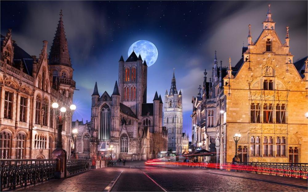landscape Gotham City Belgium cobblestone street light moon Gothic architecture starry night Home Decoration Canvas Poster Print