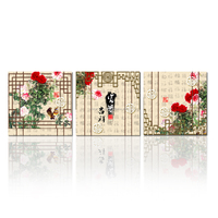 Chinese Style Printed Calligraphy and Painting /Canvas Printing for living Room Decor on Sale Canvas Set of 3