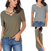 Women Super Soft Summer Tops Criss Cross Strings Bandage Front Keyhole Deep V-Neck Short Sleeve Tees Top