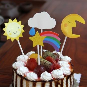 Star Cloud Sun Moon Set Cartoon Cake Topper For Children Party Birthday  Decoration Wholesale - Buy Child Cake Toppers,Paper Cake Topper,Funny  Wedding ...